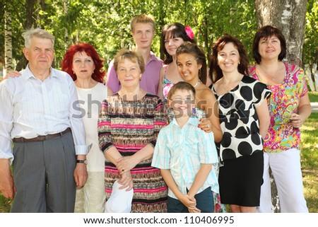 Family of nine people pose at park near big tree - stock photo