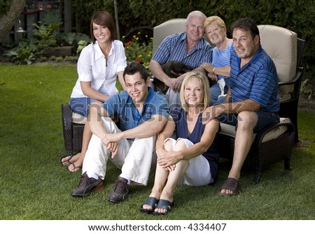 family of six with three generations in the summer