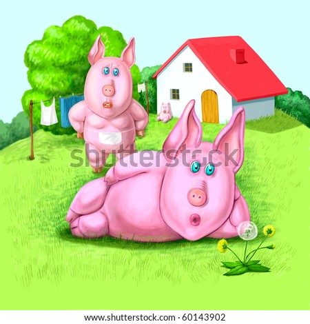Family of the pigs - stock photo