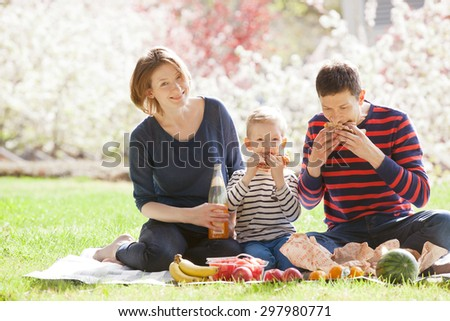 family of three enjoying summer picnic together outside in the park - stock photo