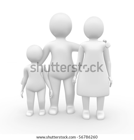 Family of three members, 3d illustration isolated on white