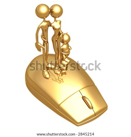 Family On A Computer Mouse - stock photo