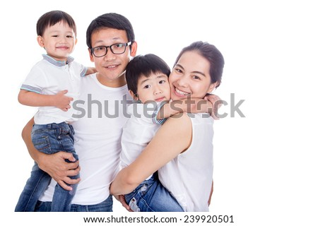 Family on a white background - stock photo