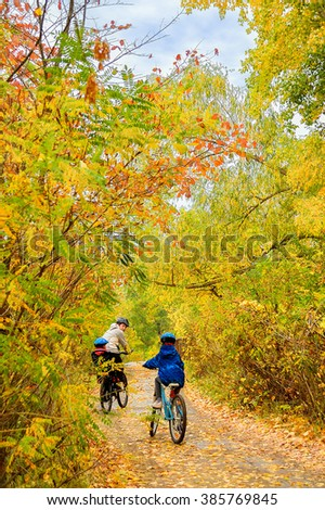 Family on bikes in autumn park, father and kids cycling, active family sport outdoors, vertical image  - stock photo