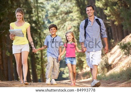 Family on country walk - stock photo