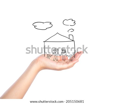 Family on hand with house isolated on white background