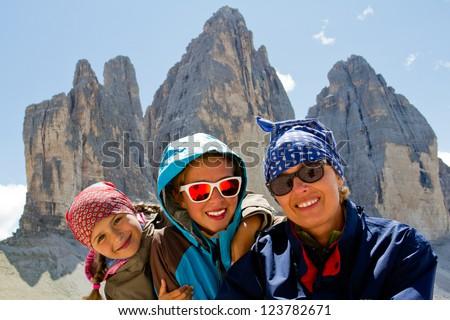 Family on hike, Tre Cime di Lavaredo - Dolomites - Italy - stock photo