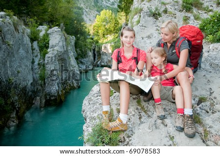 Family on mountains trek