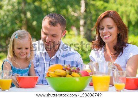 Family on picnic at park or backyard
