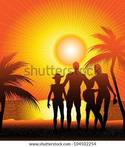 family on sunset beach (also available vector version)