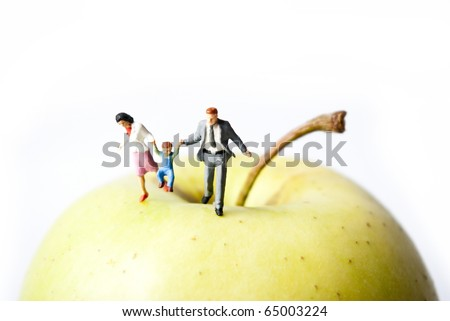 family on the apple walk - stock photo