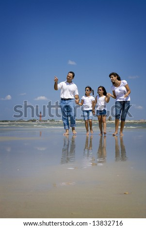 Family on vacation walking on a beach