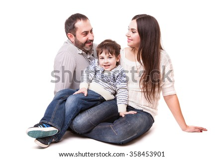 family on white background