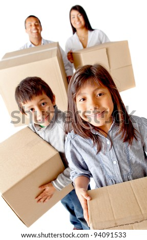 Family packing in boxes for moving home - isolated over a white background - stock photo