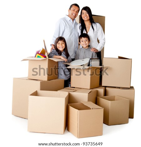 Family packing in boxes for moving house - isolated over a white background - stock photo