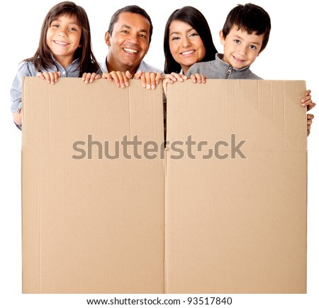 Family packing in cardboard box for the moving - isolated over a white background - stock photo