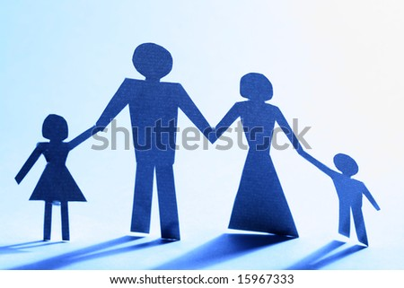 family paper his her and two child - stock photo