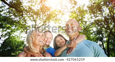 Family Parenting Love Togetherness Happiness Summer Concept - stock photo