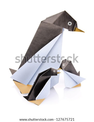 family penguin origami isolated on white background - stock photo