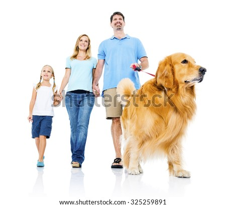 Family Petting Dog Bonding Togetherness Concept - stock photo