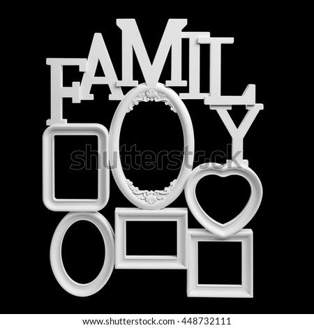Family Photo Frame isolated on black background with clipping path