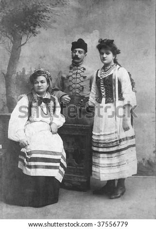 Family photo from 1910 - stock photo