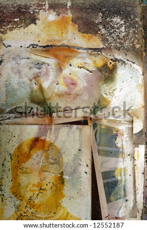 Family photographs damaged by the flood waters of hurricane Katrina - stock photo