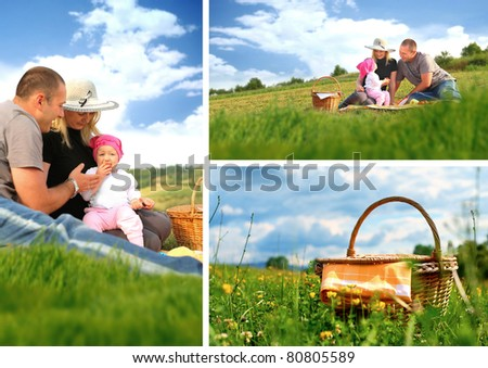 Family picnic collage