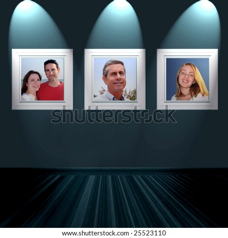 Family Pictures On Wall - stock photo