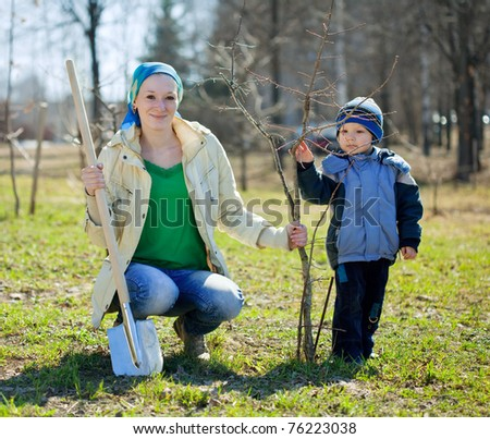 family planting tree with  spade outdoor - stock photo