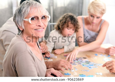 Family playing a game together