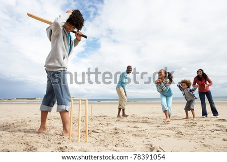 Family playing cricket on beach - stock photo