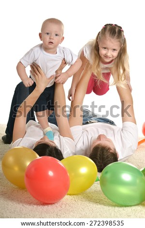Family playing isolated on a white background