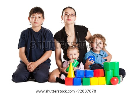 family plays in cubes - stock photo
