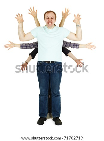 Family plays the fool representing multiarmed god - stock photo