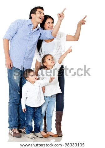 Family pointing with finger - isolated over a white background - stock photo