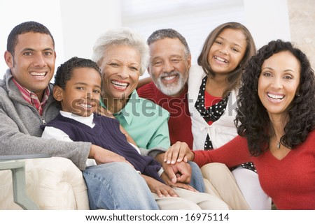 Family Portrait At Christmas - stock photo