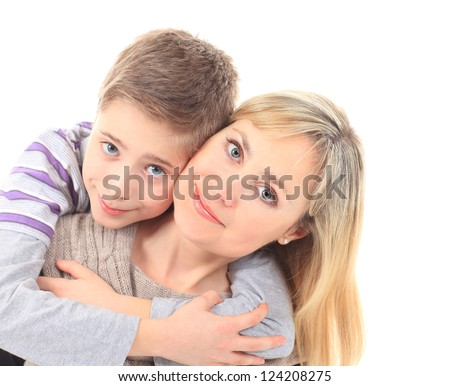 Family portrait of mother and son