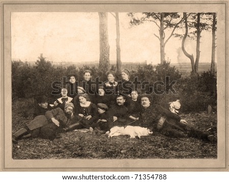 Family portrait, people of all ages, circa 1901. - stock photo