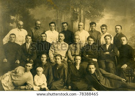 Family portrait, people of all ages, circa 1899. - stock photo