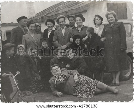 Family portrait, people of all ages. USSR, mid 20 century - stock photo