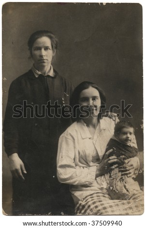 Family Portrait - Two women with a child. 30-s XX Century, USSR.