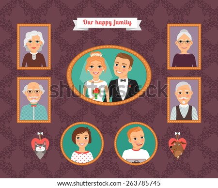 Family portrait. Wall with family photo frames. Husband and wife, daughter and son, father and mother, grandfather and grandmother, cat and dog - stock photo