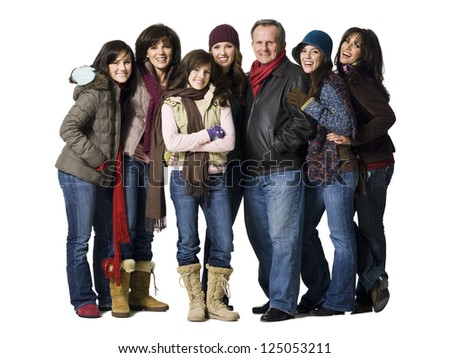 Family portrait with people in winter coats - stock photo