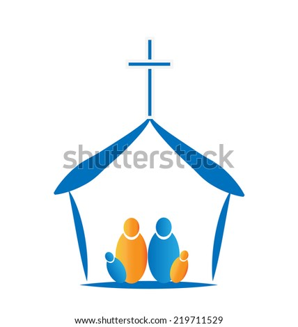 Family praying in the church icon image - stock photo