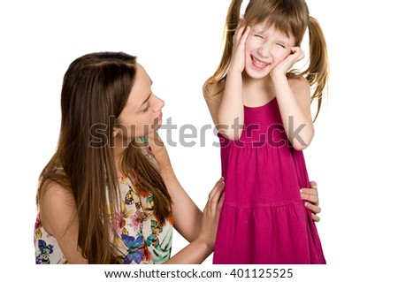 family problems. children do not obey their parents - stock photo