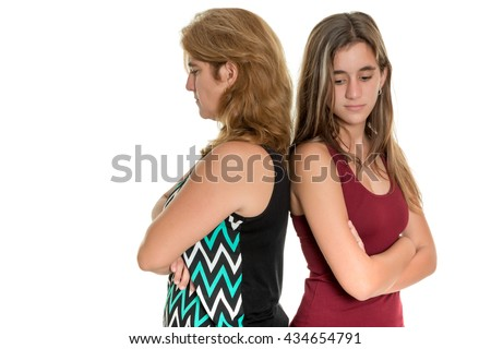 Family problems, Teenager conflict - Mother and her teenage daughter angry at each other - Isolated on white - stock photo