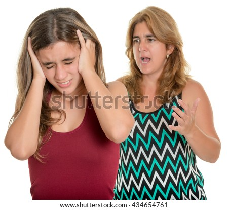Family problems, Teenager conflict - Mother yelling at her teenage daughter - Isolated on white