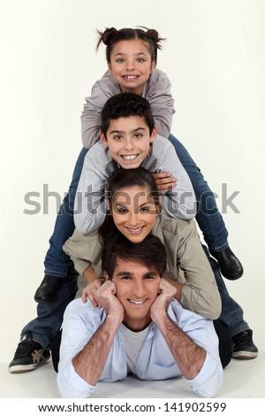 family pyramid - stock photo