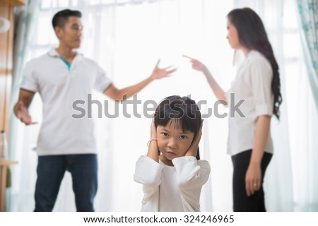 Family quarrel  daughter regrets She did not want to hear parents - stock photo